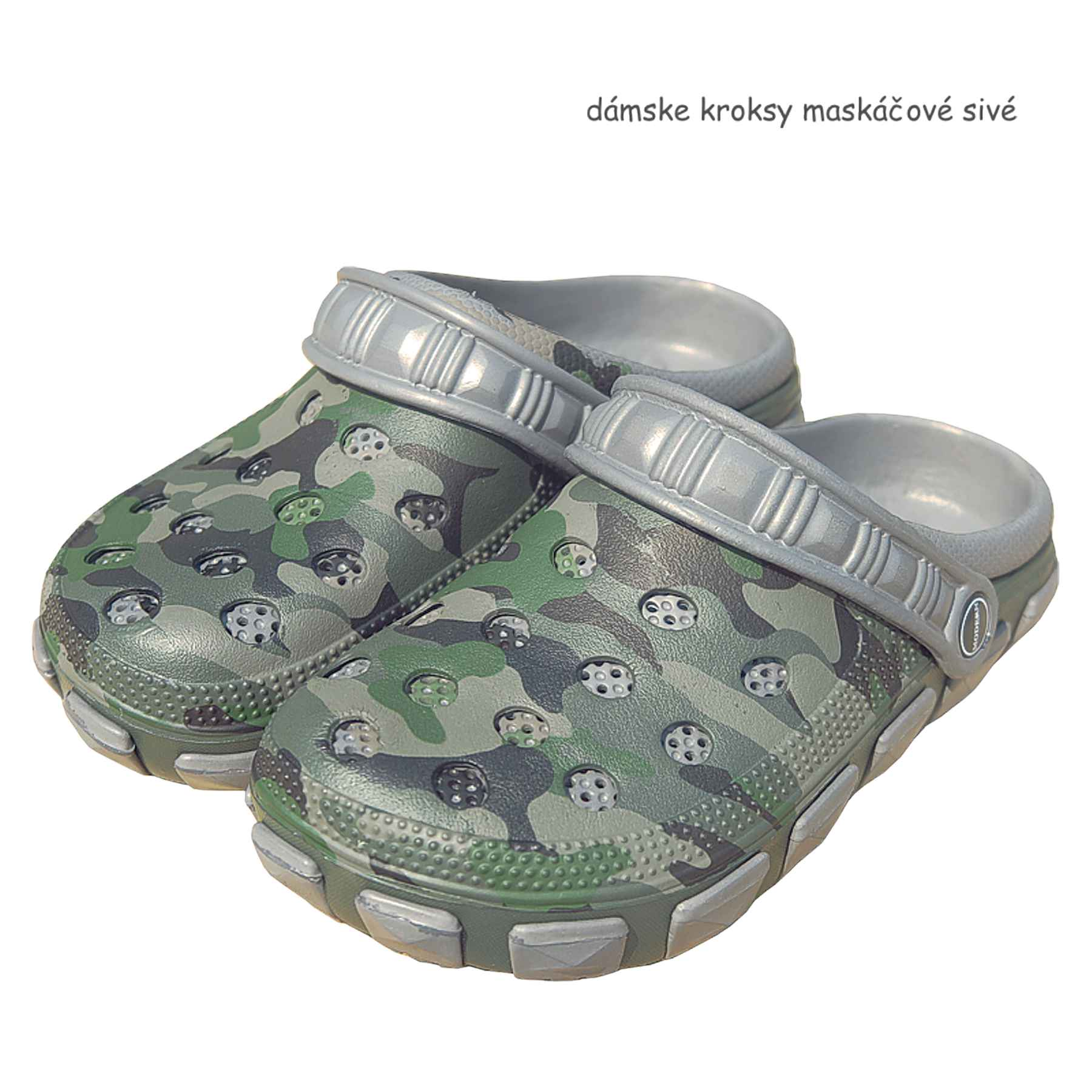 ad6be7694f389 dámske kroksy maskáčové sivé | TifanTEX obuv