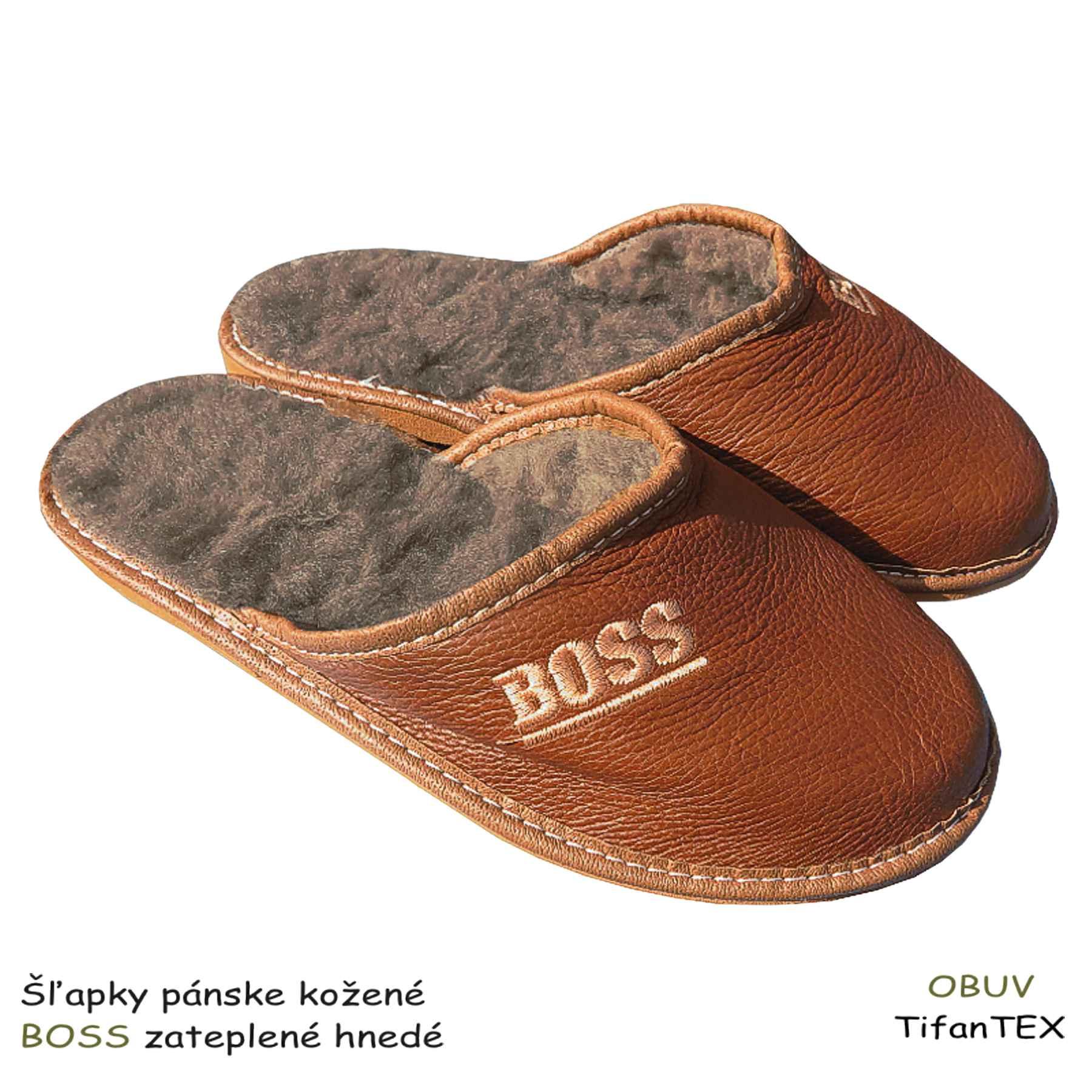 0c8ce5e83 Šľapky pánske kožené BOSS zateplené hnedé | TifanTEX veľkoobchod