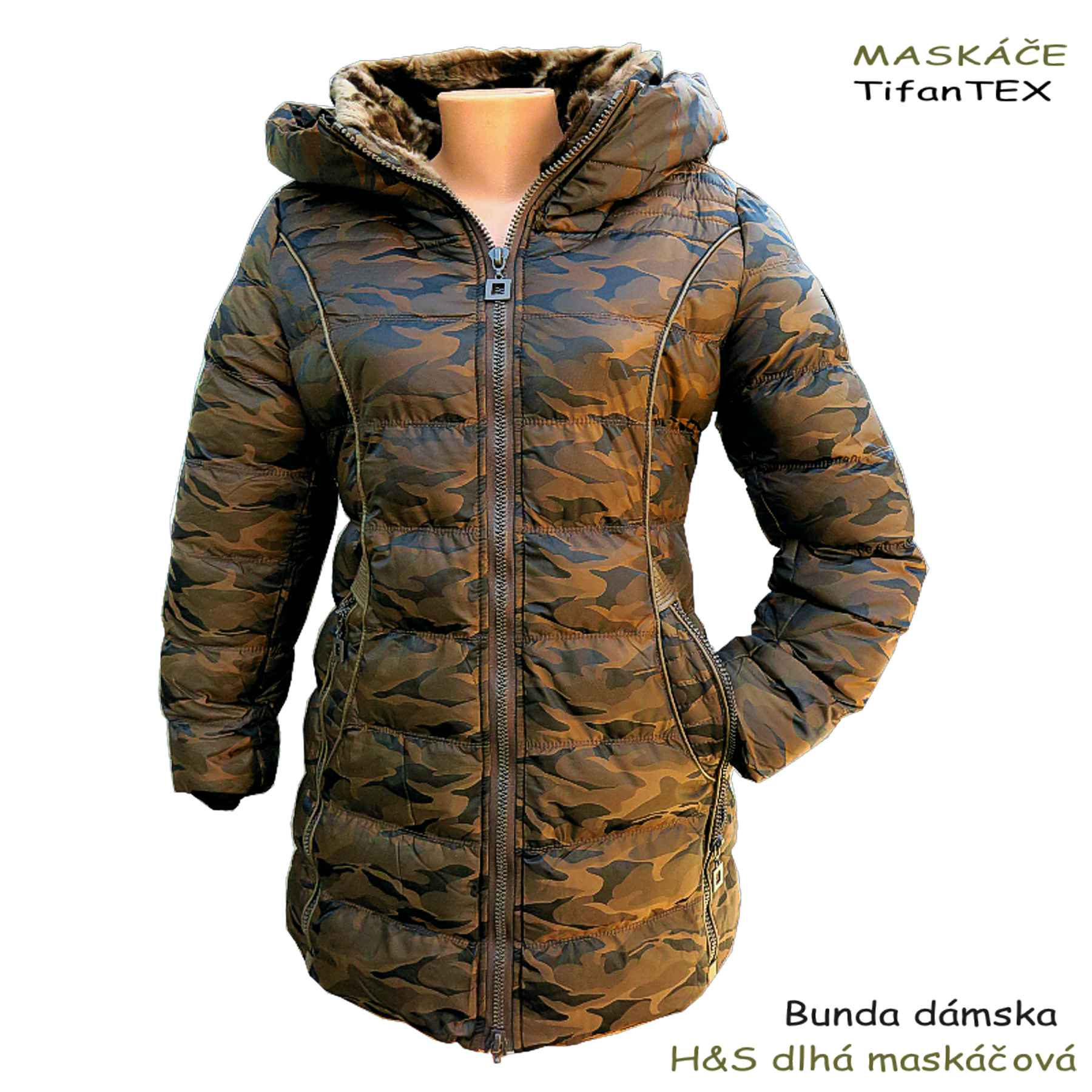 016b03dddf62 Zimná prešívaná bunda dámska H S dlhá maskáčová eshop