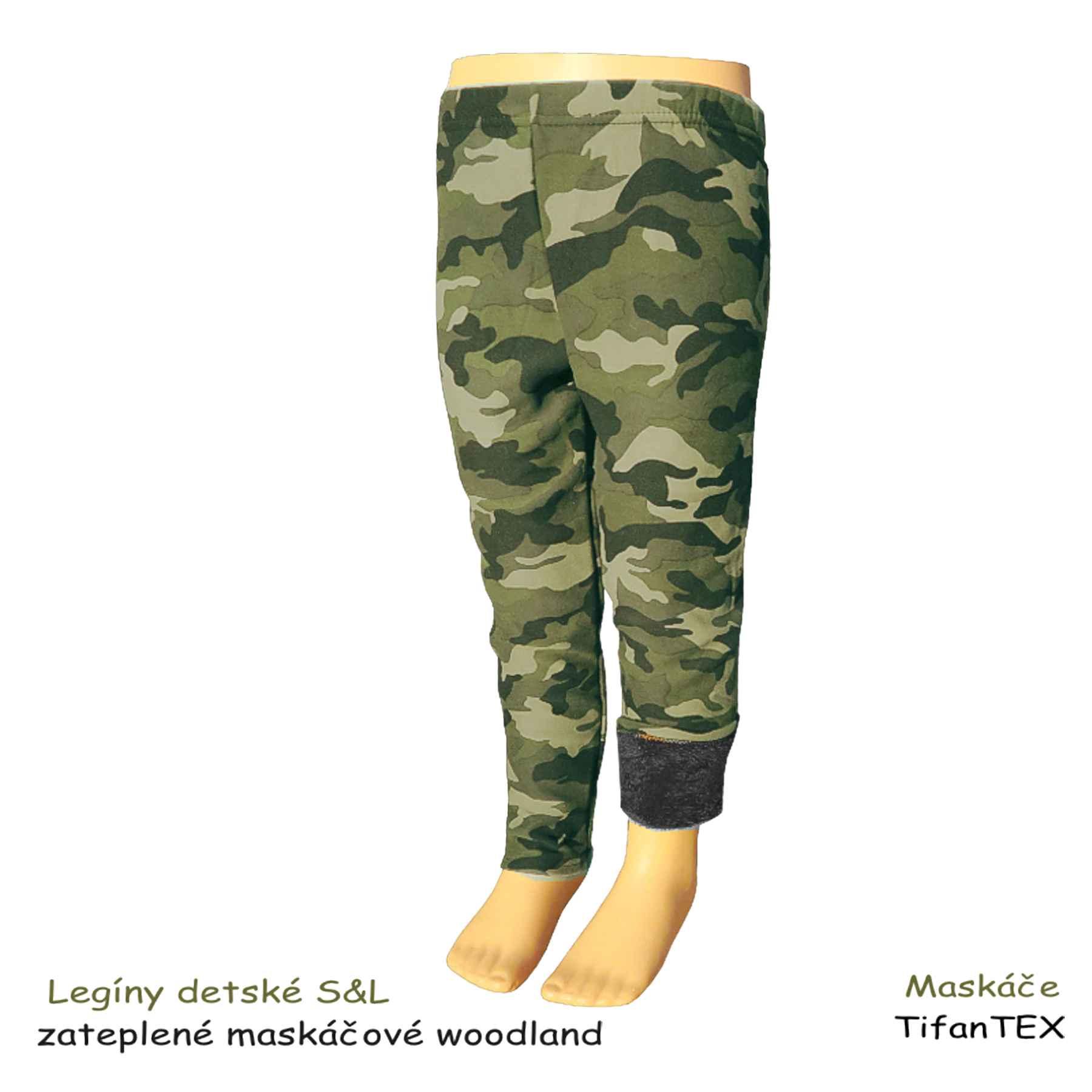 vhodné na chladné obdobie Legíny detské S L zateplené maskáčové woodland c54d7edfc4