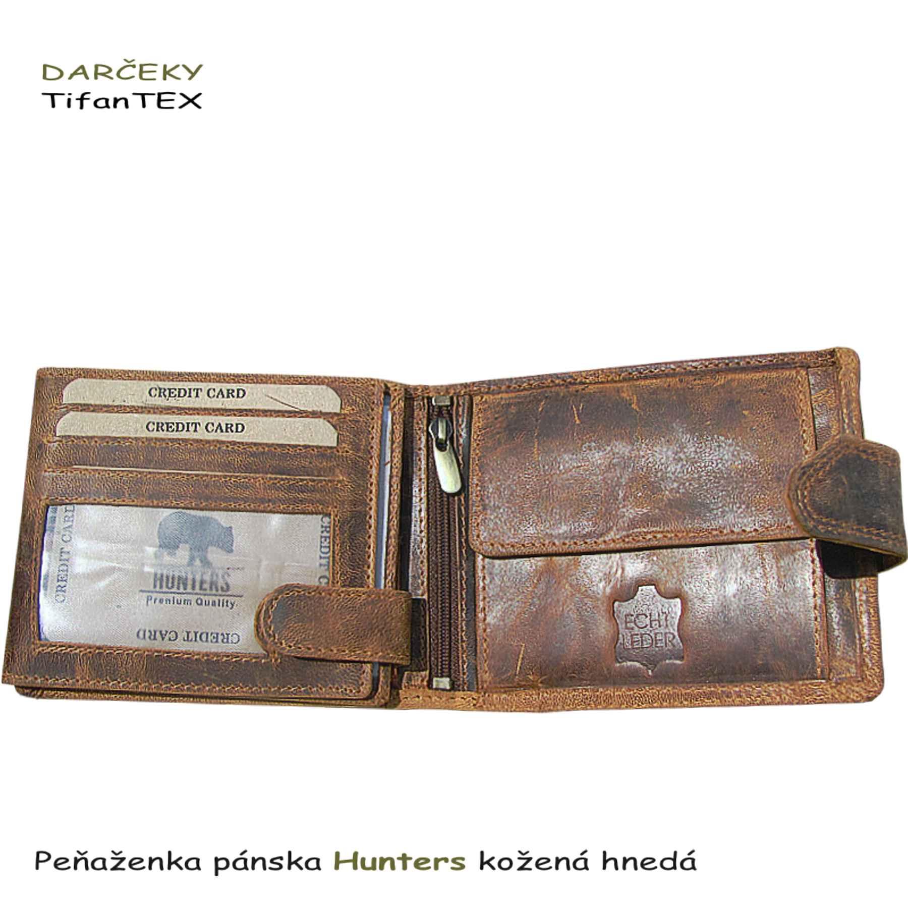 455e16b3f ... Peňaženka pánska Hunters kožená hnedá, Tifantex veľkosklad