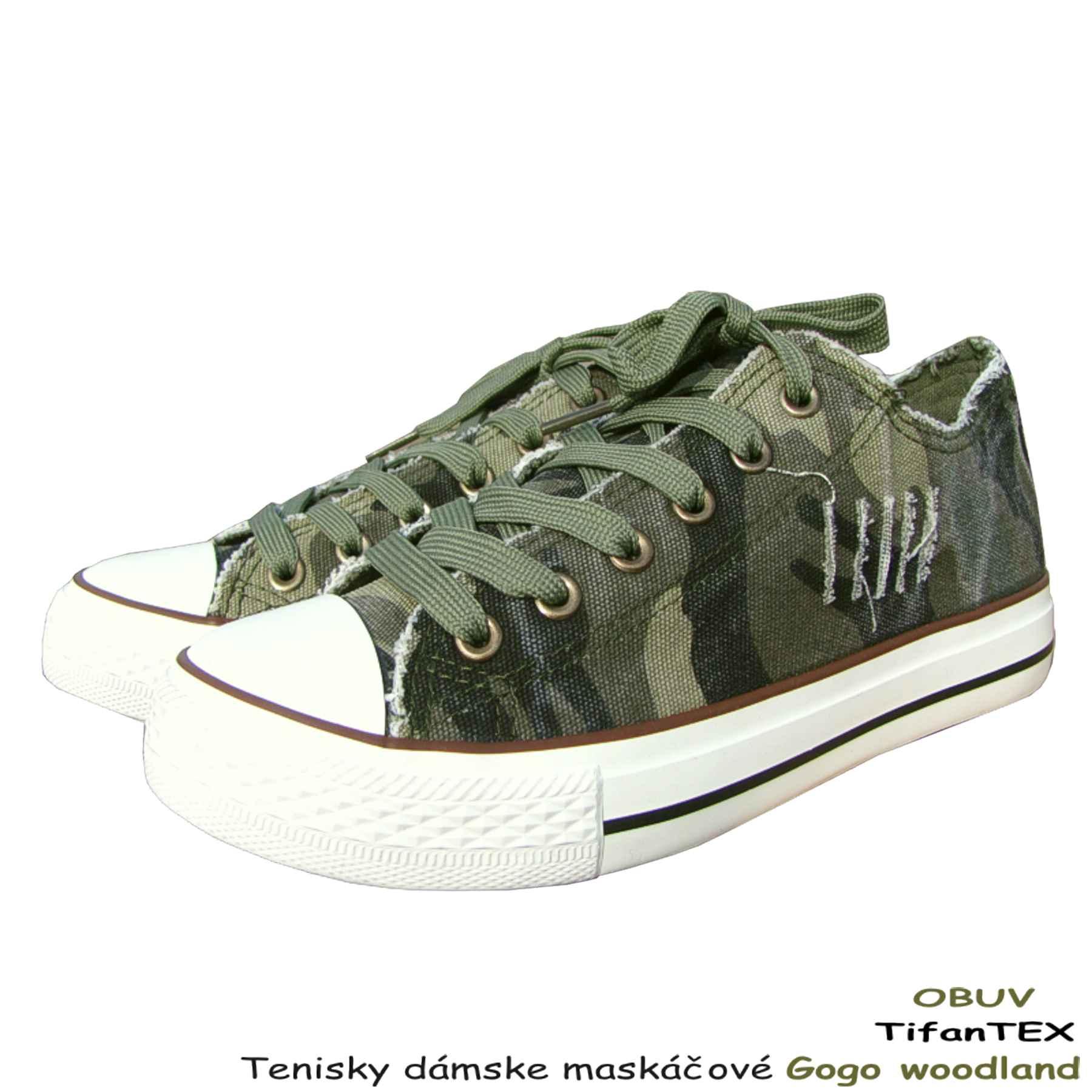 f358b635331a2 obuv má textilný zvršok pôsobiaci opotrebovaným vzhľadom Plátenné tenisky  dámske maskáčové Gogo woodland nizke - Tifantex obuv