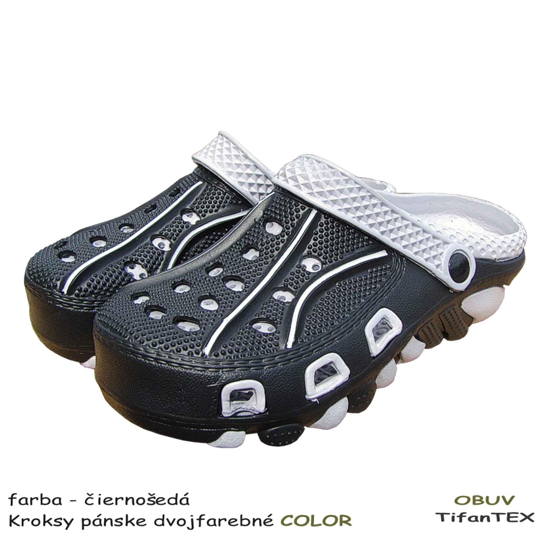 a9fffb139335 Šľapky Kroksy pánske dvojfarebné COLOR čierne - Tifantex obuv