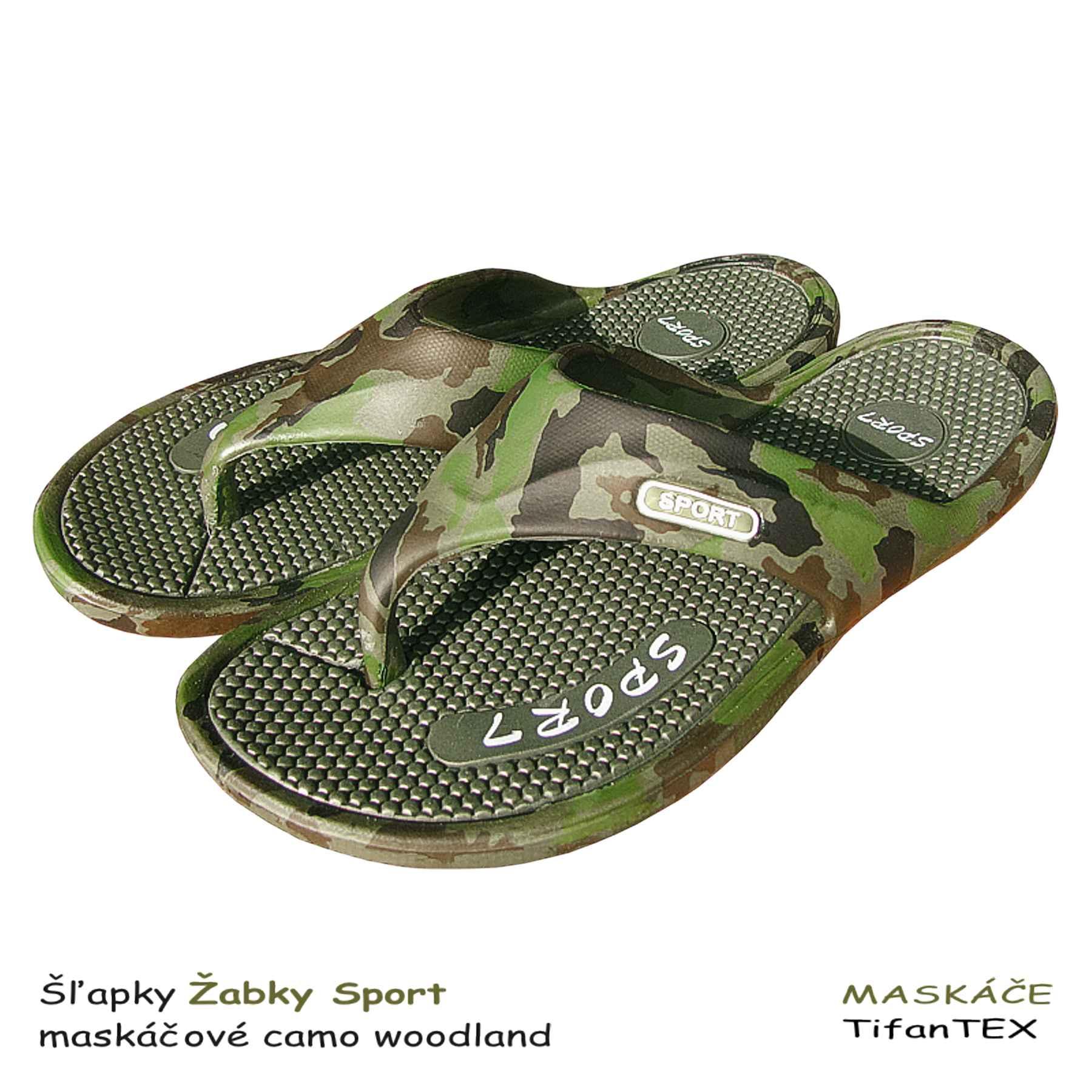 9f2d1df773 Šľapky Žabky Sport maskáčové woodland - TifanTEX obuv veľkosklad