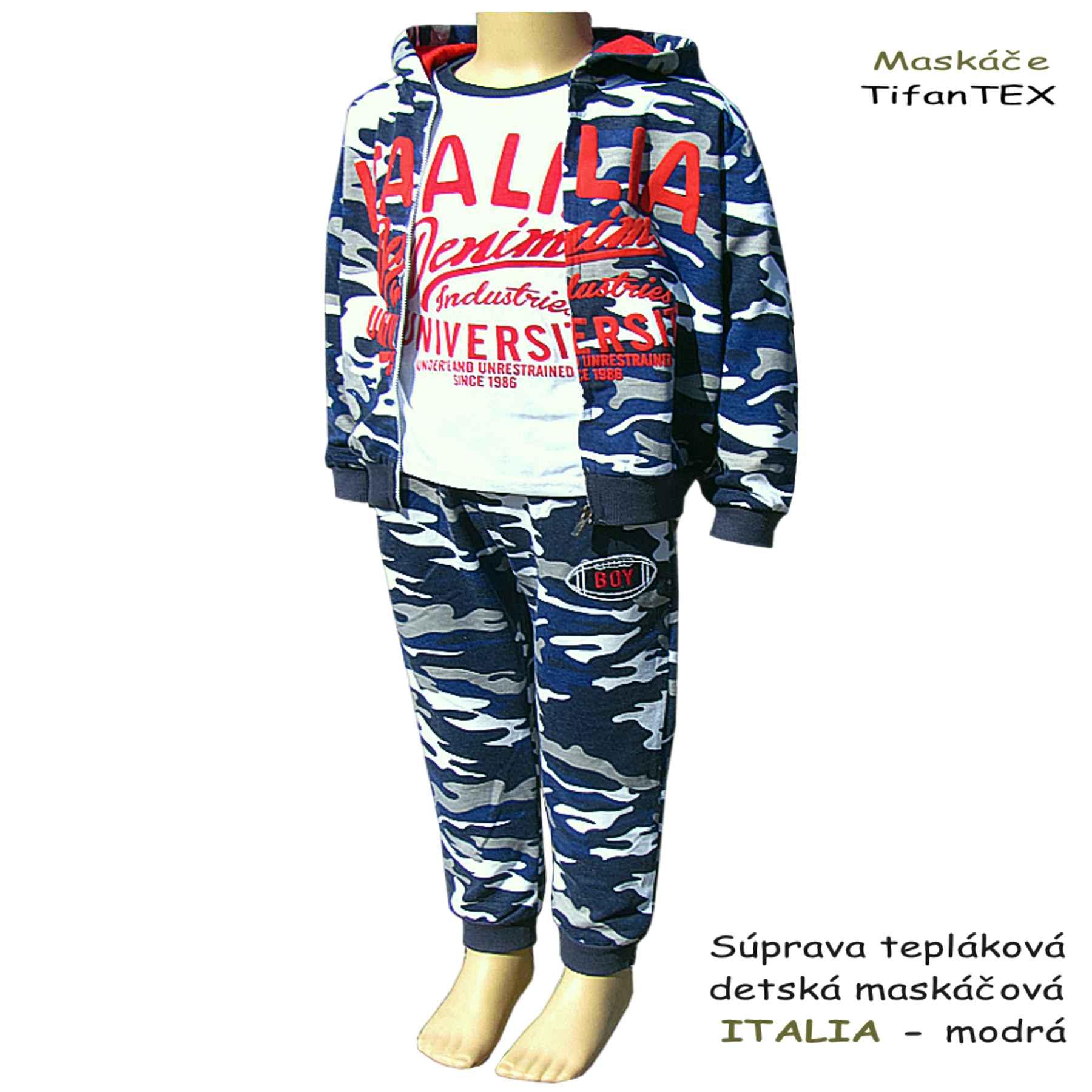 24b094b82ddb ... Súprava tepláková detská maskáčová s tričkom Italia modrá - odevy  Tifantex