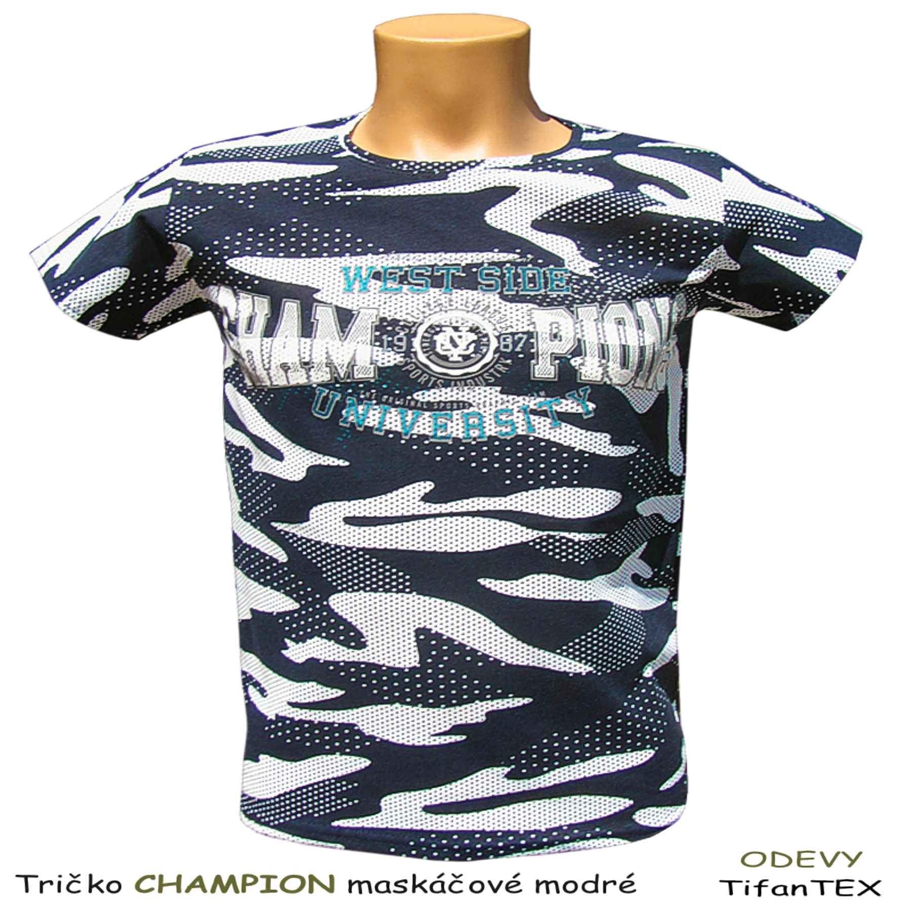 de3631ec8696 na prednom diele je nápis CHAMPIONS Pánske bavlnené tričko maskáčové  Champion modré