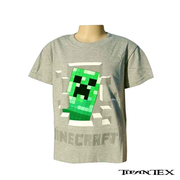 157099141f6b tričko detské minecraft sivé