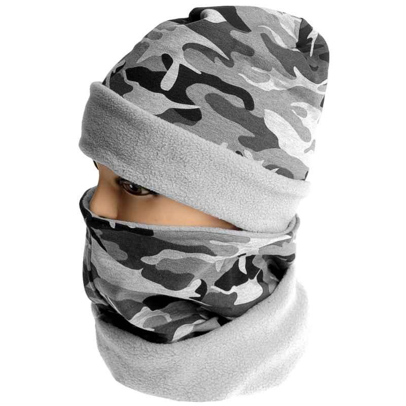 d62f6d4da418 čiapka maskáčová sivá Thermo s nákrčníkom