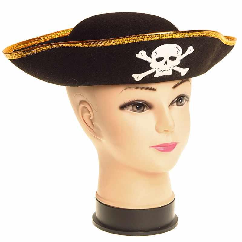 Pirátsky klobúk detský čierny so zlatým lemom (KARNEVALOVý PIRáTSKY KLOBúK PRE DETI, PREDAJ SUPER CENA)
