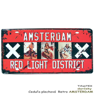 Ceduľa plechová ŠPZ retro AMSTERDAM red light district